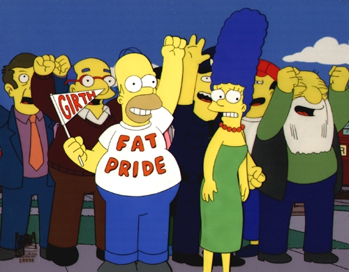 Homer Simpson Wearing Fat Pride T-Shirt with Girth Glad On Sweet And Sour Marge