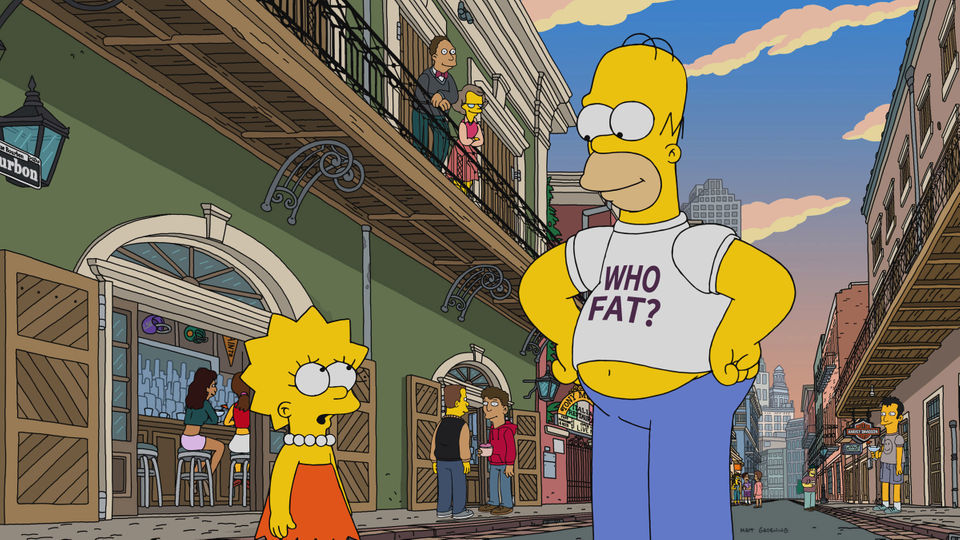 Homer Simpson Wearing Who Fat? T-Shirt In Lisa Gets The Blues New Orleans
